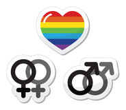 Gay couple, gay love icons set. Rainbow heart, male and female symbols. Gay marriage, gay couples concept Royalty Free Stock Images