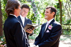 Gay Couple Getting Married. Handsome gay couple getting married in beautiful outdoor ceremony Stock Images