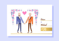 Gay couple getting married. Two women holding hands. Vector illustration eps 10 Royalty Free Stock Images