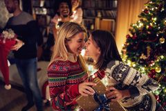 Free Gay Couple Giving Christmas Present Royalty Free Stock Photo - 132384505