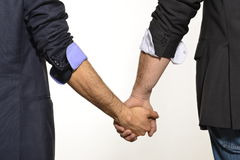 Gay couple hand by hand Stock Photos