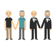 Gay couple. Happy senior gay couple isolated on white background. Older men holding hands, in wedding tuxedos and casual clothes. Simple and cute cartoon style stock illustration