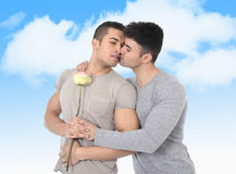 Gay couple of homosexual young strong men in love on valentines outdoors Royalty Free Stock Images