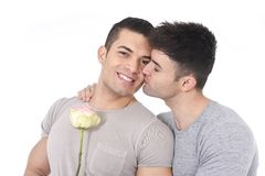 Gay couple of homosexual young strong men in love on valentines with rose Royalty Free Stock Photography