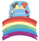Gay couple kissing on abstract rainbow .Vector Stock Image
