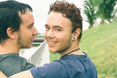 Gay couple. Loving gay couple in outsite Royalty Free Stock Image