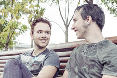 Gay couple. Loving gay couple in outsite Stock Images