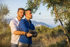 Gay couple in nature Stock Images