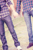 Gay Couple Outdise Holding Hands stock images
