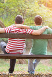 Gay couple in the park Royalty Free Stock Images