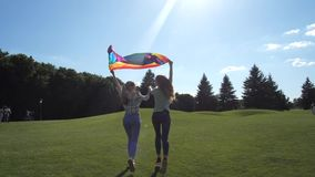 Gay couple with rainbow pride flag running outdoor. Back view of young lgbt couple holding fluttering color gay pride symbol over heads running hand in hand stock footage