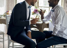 Gay Couple Sitting Talking with Wine Glasses Together Stock Images