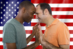 Gay Couple on 4th of July Stock Image