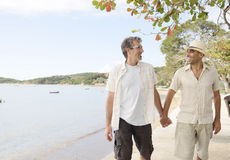 Gay couple on vacation holding hands Royalty Free Stock Photography