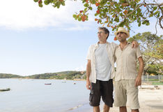 Gay couple on vacation. Travel: Gay couple on vacation Royalty Free Stock Images