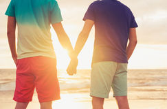 Gay couple watching sunset. Happy gay couple holding hands watching sunset on the beach
