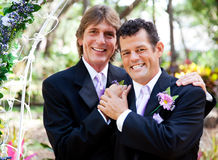 Gay Couple - Wedding Portrait. Wedding portrait of a very handsome gay couple Royalty Free Stock Photography
