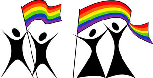 Gay couples with a flag. Silhouettes of gay and lesbian couples with rainbow flag Royalty Free Stock Image