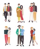 Gay couples flat colorful illustration. LGBT men and women in love. Royalty Free Stock Photography