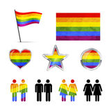 Gay couples icons isolated on white Royalty Free Stock Photography