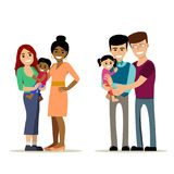 Gay couples with kids. Male and female gay couple with kids. Same-sex family. Happy homosexual spouses holding a baby. Vector art on art. Cartoon design vector illustration