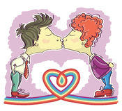 Gay couples kissing. Royalty Free Stock Photo