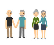Gay couples. Two happy senior gay couples on white background. Older men and women in casual clothes holding hands. Simple and cute cartoon style royalty free illustration