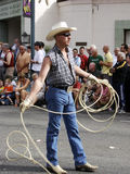 Gay Cowboy. Cowboy with lasso at Palm Springs Gay Pride Parade stock photos
