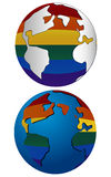 Gay Earth. 2 Variants of the Earth with gay/lesbian theme Stock Photos