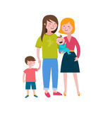 Gay families, Happy family, making fun, couple with kids. Vector illustration Stock Image