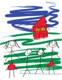 Gay Family. A child like drawing of a gay female pair of women with two children and a house. The image is in eps format vector illustration