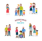 gay family, different kind of families, special needs children Royalty Free Stock Images