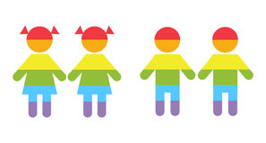 Gay family LGBT rights raibow icons white. Couple boys and girls illustration Stock Photography