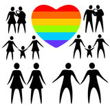 Gay family set. Gay couples and rainbow heart on a white background Royalty Free Stock Photography