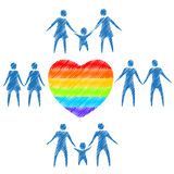 Gay family symbols Royalty Free Stock Images