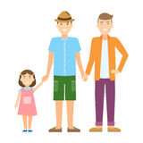 gay family. Two handsome cartoon men with daughter standing on white background and holding hands. Happy homosexual relationship Royalty Free Stock Images