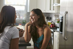 Gay female couple in their 20s talking in their kitchen Stock Image