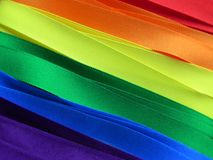Gay Flag or banner. Gay Flag flag or banner made with red, orange, yellow, green, blue and purple ribbons stock image
