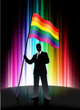 Gay Flag with Businessman on Abstract Spectrum Background Stock Photos