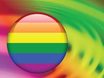 Gay Flag Button on Abstract Liquid Wave Background Stock Image