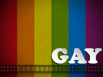 Gay Flag Button on Jeans Fabric Texture Stock Image