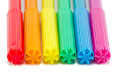 Gay flag colors on felt tip pens isolated on white Royalty Free Stock Image