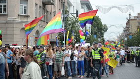 Gay flag crowd stock video footage