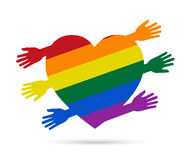 Gay flag in the form of heart with colored hands Royalty Free Stock Images
