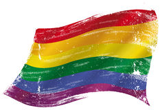 Gay flag grunge. Gay flag with a texture in the win Royalty Free Stock Images