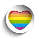 Gay Flag Heart Striped Sticker Royalty Free Stock Photo