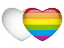 Gay Flag Heart Striped Sticker Stock Photo