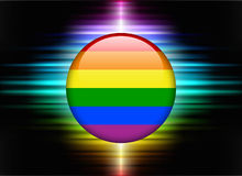 Gay Flag Icon Button on Abstract Spectrum Background Stock Photos