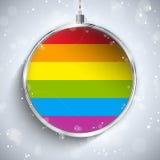 Gay Flag Merry Christmas Ball stock illustration