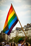 Gay flag Paris. Young man holding a gay flag during the parade of the annual Gay Pride aka Marche des Fiertes LGBT on June 26, 2010 in Paris. Tens of thousands Royalty Free Stock Photography
